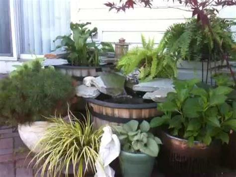 container water garden  waterfall youtube