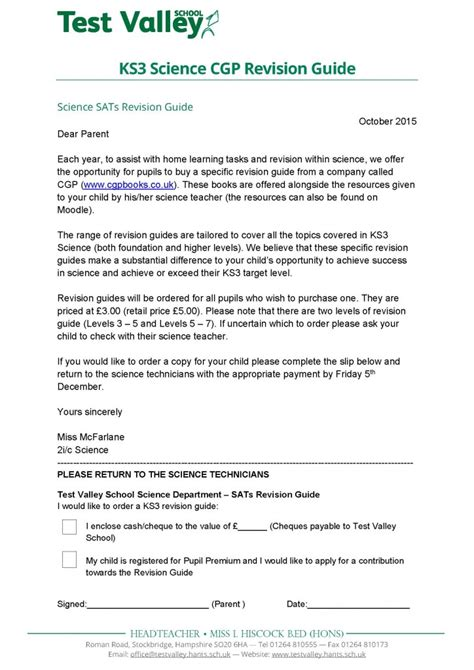 Ks3 Letter Writing test valley school ks3 science cgp revision guide
