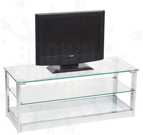 glass tv stand entertainment unit 3 shelf television unit
