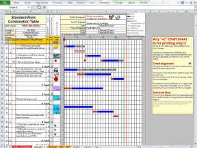 standard work excel template standard work analysis