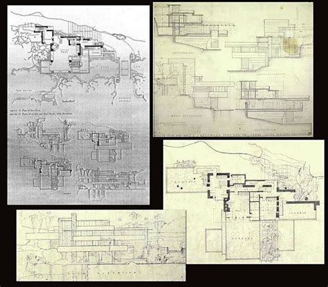 fallingwater floor plan original drawings frank lloyd wright fallingwater