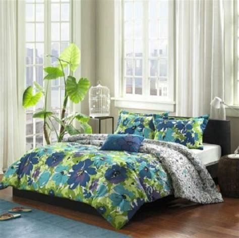 blue and green comforter set twin twin xl girls teen blue green purple tropical floral