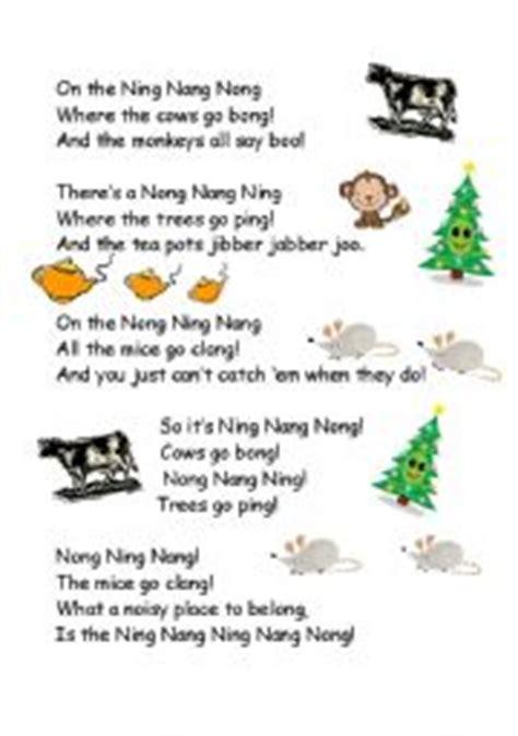 printable version ning nang nong english teaching worksheets poems