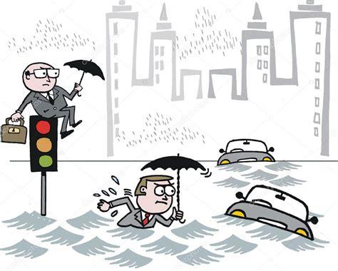 imagenes animadas de inundaciones dibujos animados de vector de viajeros varados en la