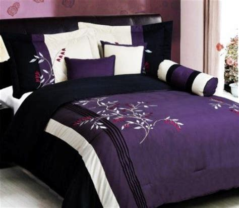 king size purple comforter com 7 pc modern purple black embroidered comforter