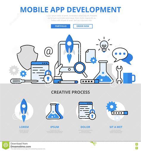 mobile app development workflow mobile app development concept flat line vector icons