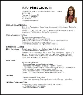 Plantillas De Curriculum Vitae En Word En Español Modelo Curriculum Vitae T 233 Cnico De Laboratorio Qu 237 Mico Livecareer