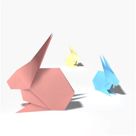 Origami 3d Models - 3d model origami rabbit