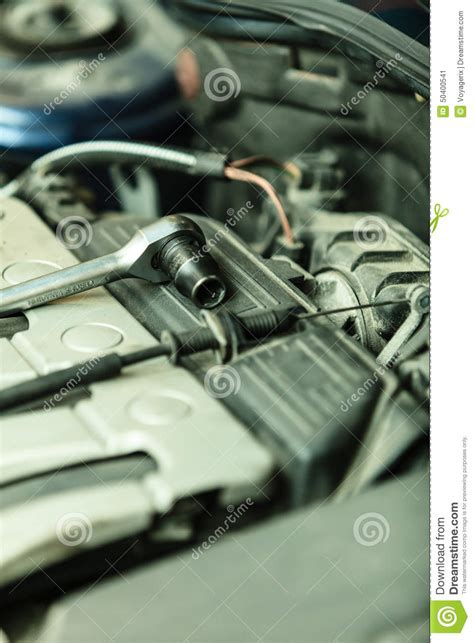 car engine service car in service repairing auto repair shop stock image
