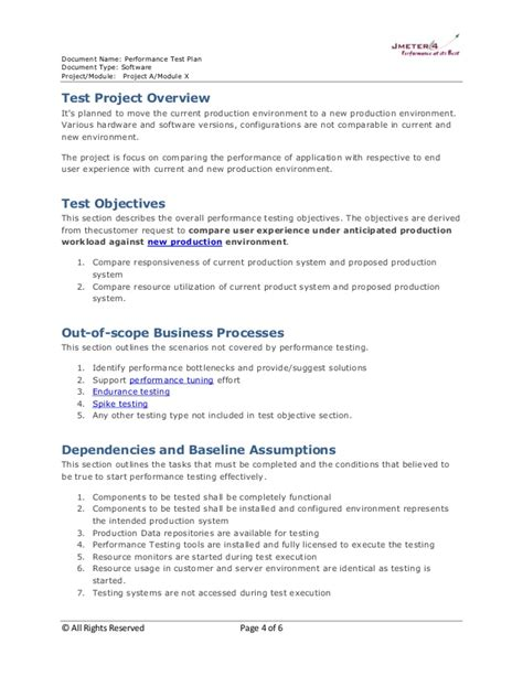 performance test strategy template performance test plan template doc plan template