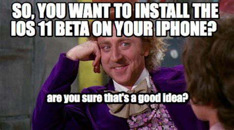 Ios Meme - so you want to install ios 11 beta on your main iphone