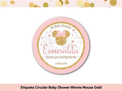 Etiquetas Para Baby Shower by Etiqueta Circular Multiuso Baby Shower Minnie Mouse Gold