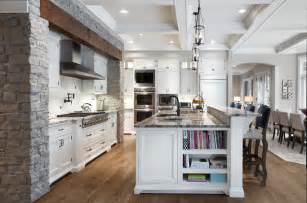 White Kitchen Island With Black Granite Top northwoods traditional kitchen chicago by red rock