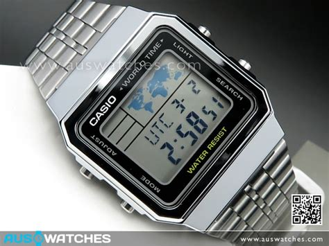 Casio A500wa 1df Stainless Steel World Time 100 New Original buy casio world time alarms digital a500wa 1df buy watches casio aus watches