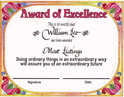 Certificate Of Award Templates   Certificate234