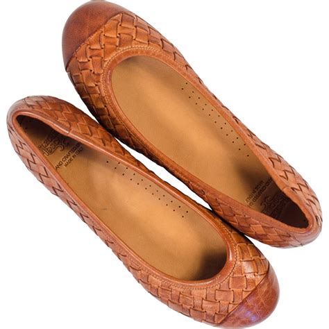 kate dip dyed coker brown woven leather ballerina flats