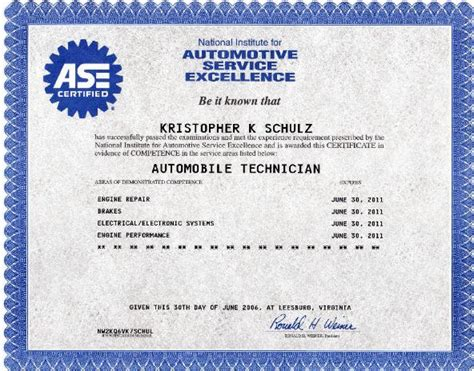 ase certification certificate blank form pictures to pin