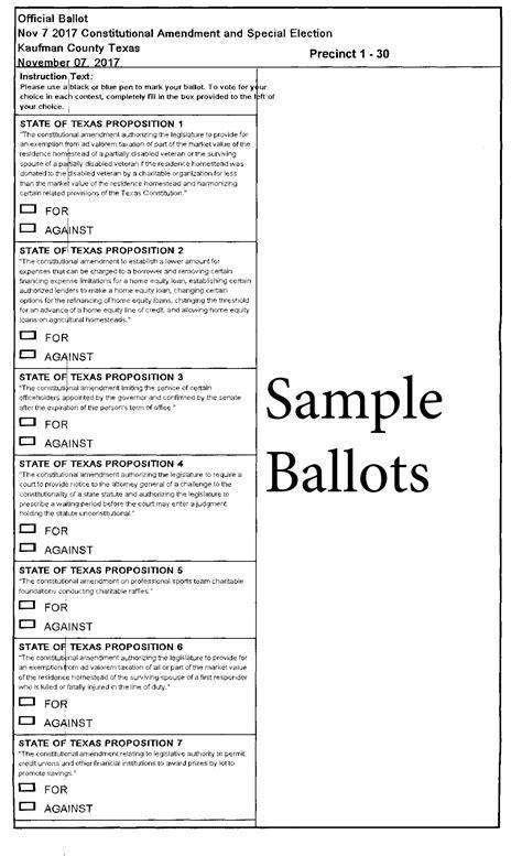 Forney Texas Sle Ballot 2017 Nov 07 Hoa Board Election Ballot Template