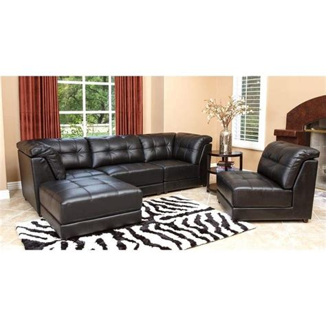 leather modular sectional abbyson living donovan 5 piece modular leather sectional