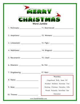 printable christmas scramble games 7 best images of holiday word scramble free printable