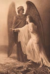 Old sepia print guardian angel the graphics fairy