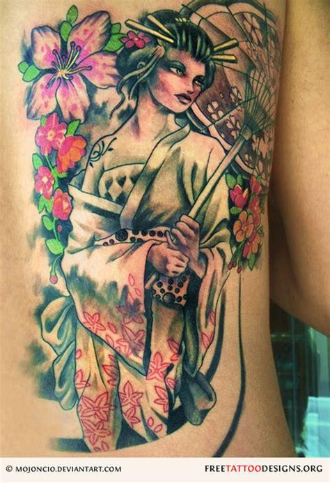 geisha flowers tattoo geisha tattoos