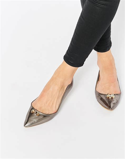 pointe flats shoes lyst rebel bow point flat shoes in metallic