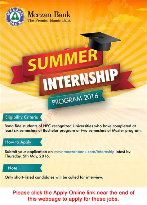 Summer Internship Program For Mba Students by Meezan Bank Summer Internship 2016 Program Apply
