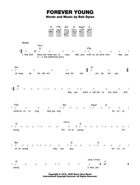 strumming pattern young volcanoes forever young sheet music by bob dylan ukulele with