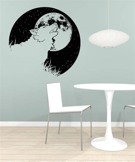 wolf wall stickers vinyl wall decal sticker wolf and moon os aa1649