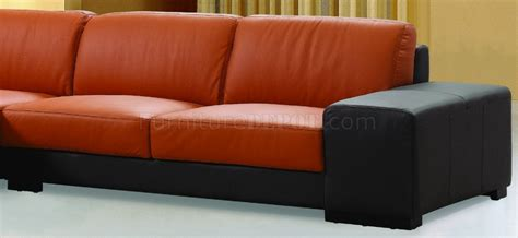 orange and brown sofa dico sectional sofa in brown orange leather by beverly hills