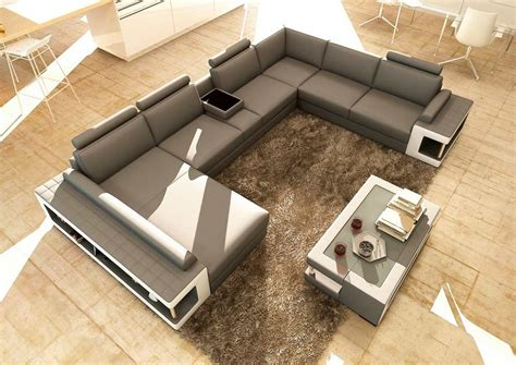 Sectional Coffee Table by Grey And White Leather Sectional Sofa With Coffee Table