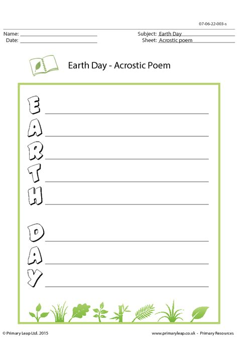 day acrostic poem earth day acrostic poem