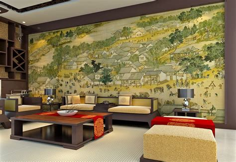 drawing room wall design chinese living room wall design and famous ancient painting