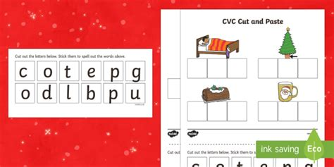 christmas words that start with n cvc words cut and paste activity