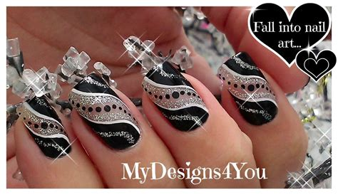 easy nail art black and silver easy party nail art black and silver glitter nails