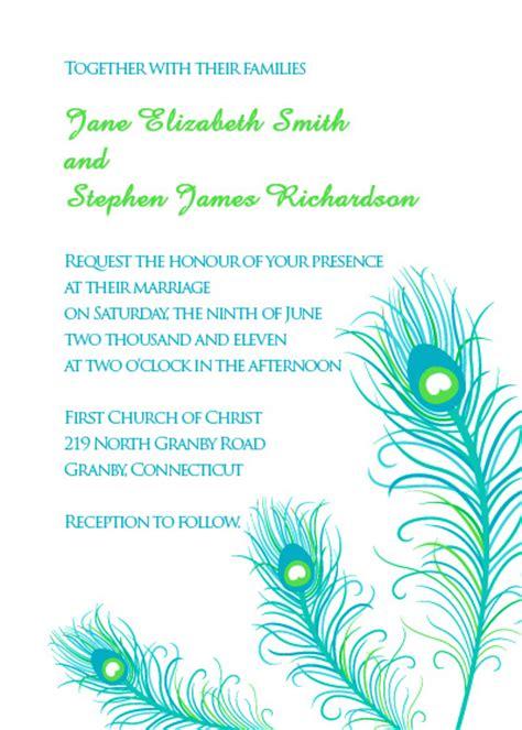 Peacock Feathers Wedding Invitation Wedding Invitation Templates Printable Invitation Kits Peacock Invitations Template Free
