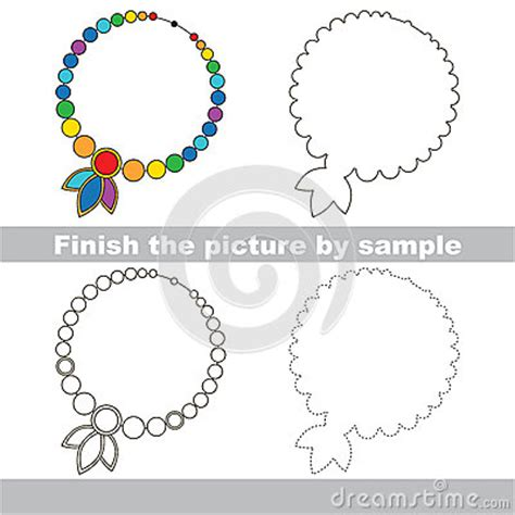 pattern necklace worksheet toy necklace drawing worksheet stock vector image