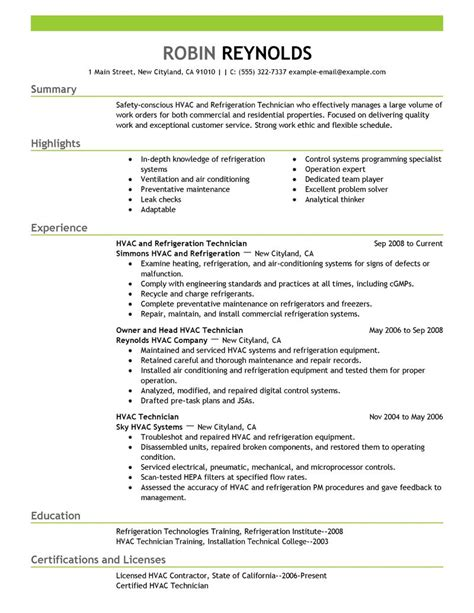 Hvac Sle Resume hvac and refrigeration resume exle maintenance