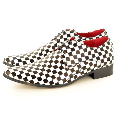 mens black white checkered leather lined pointed winkle