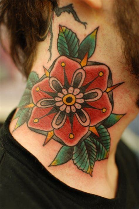 traditional flower tattoo ix tattoos pinterest