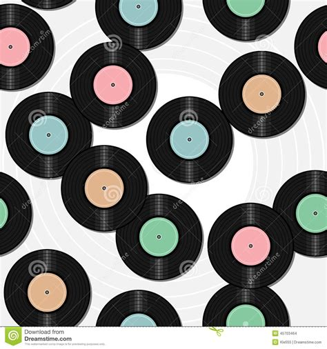 vinyl pattern background seamless background with vinyl records stock illustration