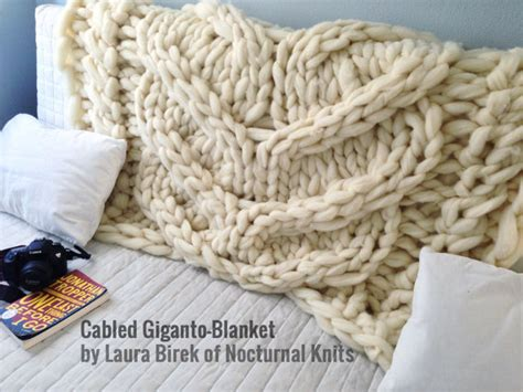 knitting with roving wool cabled giganto blanket throw made in usa custom made