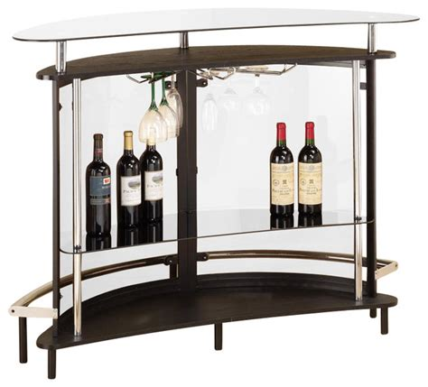 Modern Cappuccino Clear Front Glass Top Wine Stemware Rack Wine Bar Furniture Modern