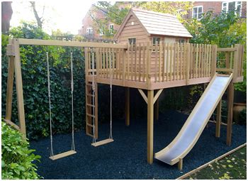 treehouse with swing the children s cottage company bespoke playhouses and
