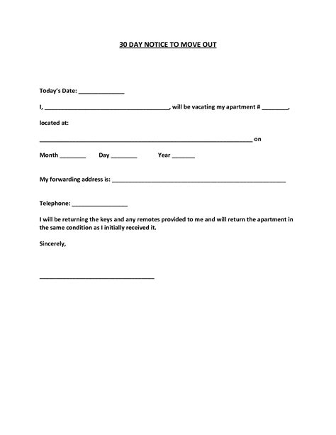 30 day move out notice template best photos of sle 30 day notice form 30 day notice
