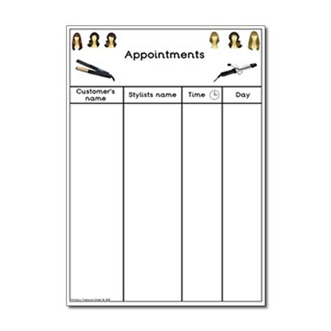 hairdressing appointment cards template play hairdressers appointment worksheet primary