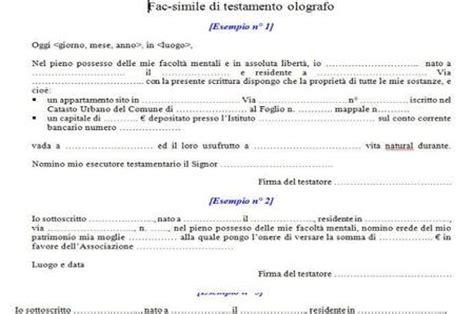 esempio di testamento fac simile testamento olografo lettera43 it