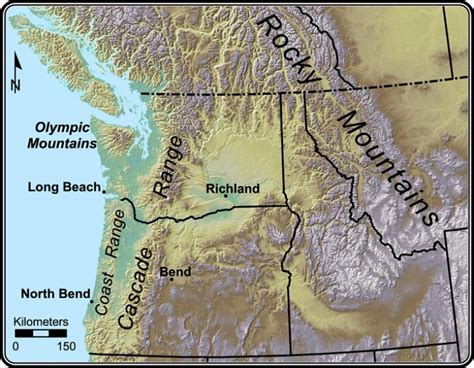 cascade mountains map cascade mountain range