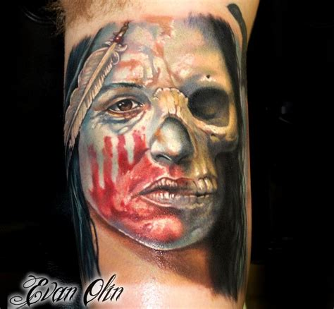 full color realistic skull amp native american tattoo by